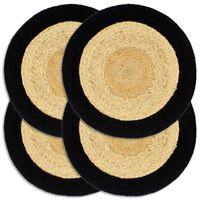 vidaXL Подложки за хранене 4 бр натурално и черно 38 см юта и памук