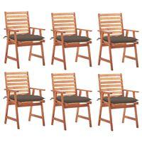 vidaXL Градински трапезни столове, 6 бр, с възглавници, акация масив