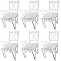 vidaXL Трапезни столове, 6 бр, бели, борова дървесина