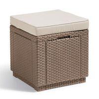Allibert Табуретка - куб с място за съхранение, цвят капучино, 228096