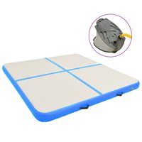 vidaXL Надуваем дюшек за гимнастика с помпа, 200x200x15 см, PVC, син