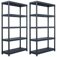vidaXL Стелажи за съхранение 2 бр черни 500 кг 100x40x180 см пластмаса