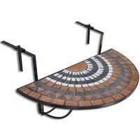 vidaXL Висяща балконска маса, теракота и бяло, мозайка