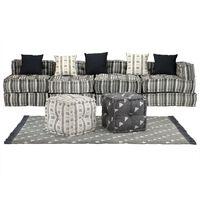 vidaXL Модулен комплект мека мебел, 16 части, текстил, ивици