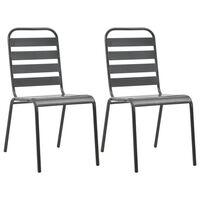 vidaXL Стифиращи градински столове, 2 бр, стомана, сиви