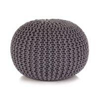 vidaXL Ръчно плетен пуф, памук, 50x35 см, сив