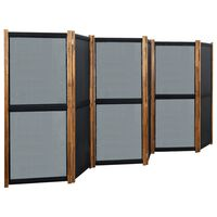 vidaXL Параван за стая, 6 панела, черен, 420x170 cм
