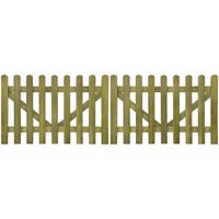 vidaXL Оградни порти от летви, 2 бр, импрегнирано дърво, 300x100 см