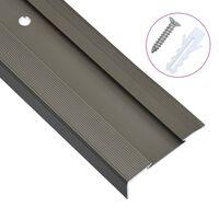 vidaXL Г-образни ръбове за стъпала, 15 бр, алуминий, 100 см, кафяви