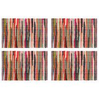 vidaXL Подложки за хранене, 4 бр, Chindi, многоцветни, 30x45 см, памук