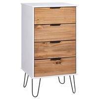 vidaXL Шкаф с чекмеджета, светло дърво и бяло, 45x39,5x90,3 см, бор