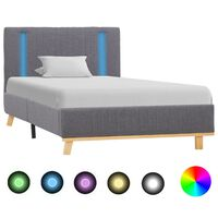 vidaXL Рамка за легло с LED, светлосива, текстил, 90x200 см