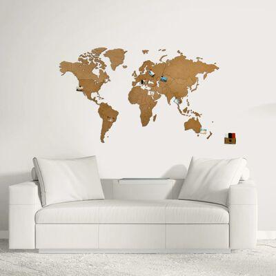 MiMi Innovations Карта на света стенна дърво Luxury кафява 130x78 см