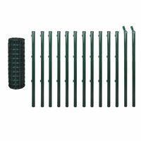 vidaXL Евромрежа, стомана, 25x1,2 м, зелена