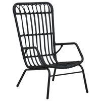 vidaXL Градински стол, полиратан, черен