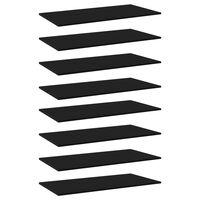 vidaXL Рафтове за етажерка, 8 бр, черни, 80x30x1,5 см, ПДЧ