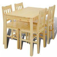 Дървена маса за хранене с 4 стола от натурално дърво