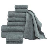vidaXL Комплект от 12 хавлиени кърпи, памук, 450 г/м2, зелен
