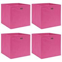 vidaXL Кутии за съхранение, 4 бр, розови, 32x32x32 см, текстил
