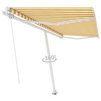 vidaXL Свободностоящ ръчно прибиращ се сенник, 400x350 см, жълто/бяло