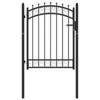 vidaXL Оградна врата с шипове, стомана, 100x125 см, черна