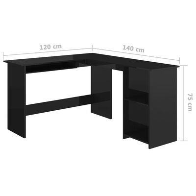 vidaXL Г-образно ъглово бюро, черен силен гланц, 120x140x75 см, ПДЧ