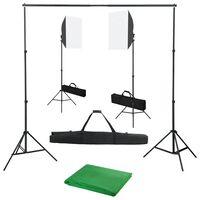 vidaXL Фотографски комплект за студио със софтбокс осветление и фон