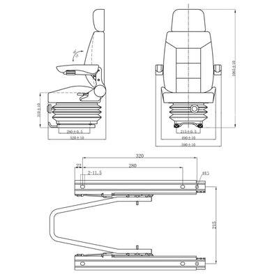 vidaXL Седалка за трактор с окачване