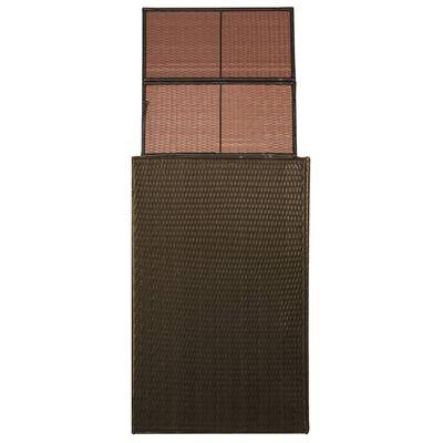 vidaXL Единичен навес за кофа за смет, полиратан, 76x78x120 см, кафяв