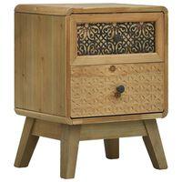 vidaXL Нощно шкафче, кафяво, 37x30x51 см, дърво
