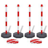 vidaXL Комплект от 4 сигнални колчета и 2 пластмасови вериги по 10 м