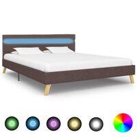 vidaXL Рамка за легло с LED, таупе, плат, 160x200 см