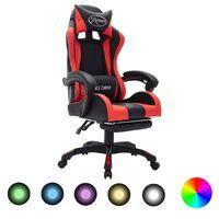 vidaXL Геймърски стол RGB LED осветление червено/черно изкуствена кожа