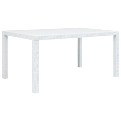 vidaXL Градинска маса, 150x90x72 см, пластмаса, ратанов вид, бяла
