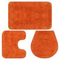 vidaXL Комплект постелки за баня, 3 бр, текстил, оранжеви
