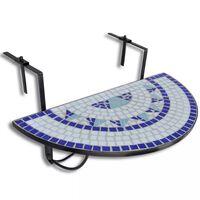 vidaXL Висяща балконска маса, синьо и бяло, мозайка