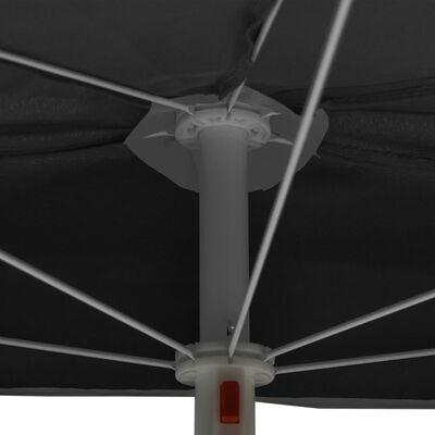 vidaXL Градински полукръгъл чадър с прът 180x90 см антрацит