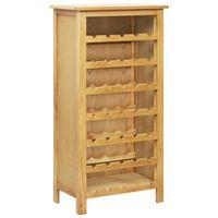 vidaXL Шкаф за вино, 56x32x110 см, дъбов масив