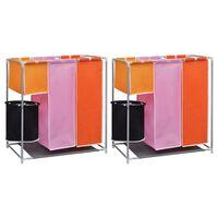 vidaXL Кош за сортиране на пране с 3 секции, 2 бр, с кофа за миене