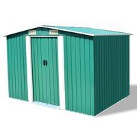 vidaXL Градинска барака за съхранение, зелена, метал, 257x205x178 см