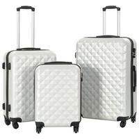 vidaXL Комплект твърди куфари с колелца, 3 бр, светлосребристи, ABS
