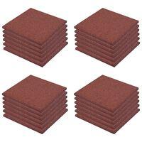 vidaXL Ударопоглъщащи каучукови плочи, 24 бр, 50x50x3 см, червени