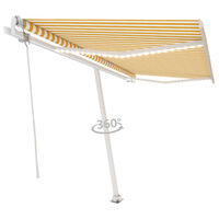 vidaXL Автоматичен сенник LED сензор за вятър 400x350 см жълто и бяло