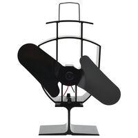 vidaXL Вентилатор за печка за топъл въздух, 2 перки, черен