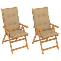 vidaXL Градински столове, 2 бр, бежови възглавници, тиково дърво масив