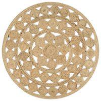 vidaXL Ръчно плетен килим от юта, 120 см
