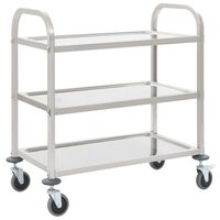 vidaXL Кухненска количка с 3 рафта, 95x45x83,5 см, неръждаема стомана