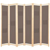 vidaXL Параван за стая, 6 панела, кафяв, 240х170х4 cм, текстил