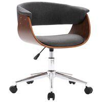 vidaXL Въртящ се трапезен стол, сив, извито дърво и текстил