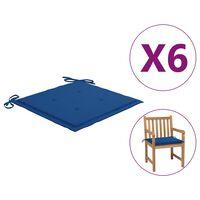 vidaXL Възглавници за градински столове 6 бр кралскосини 50x50x4 см